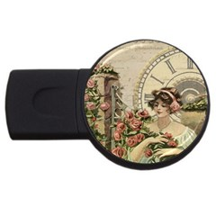 French Vintage Girl Roses Clock Usb Flash Drive Round (2 Gb) by Celenk