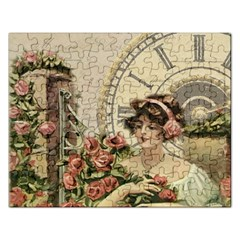 French Vintage Girl Roses Clock Rectangular Jigsaw Puzzl by Celenk