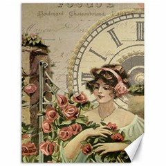 French Vintage Girl Roses Clock Canvas 18  X 24   by Celenk