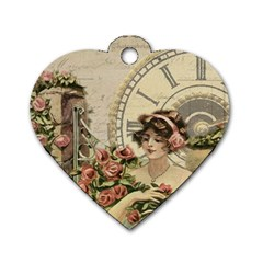 French Vintage Girl Roses Clock Dog Tag Heart (one Side) by Celenk
