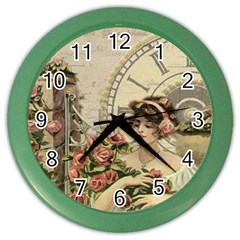 French Vintage Girl Roses Clock Color Wall Clocks by Celenk