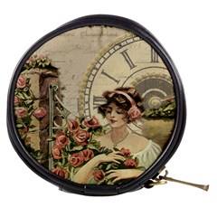 French Vintage Girl Roses Clock Mini Makeup Bags by Celenk