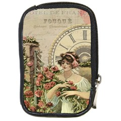 French Vintage Girl Roses Clock Compact Camera Cases by Celenk