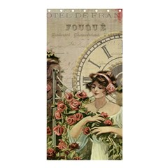 French Vintage Girl Roses Clock Shower Curtain 36  X 72  (stall)  by Celenk