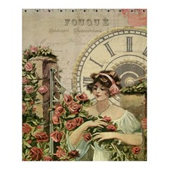 French Vintage Girl Roses Clock Shower Curtain 60  X 72  (medium)  by Celenk