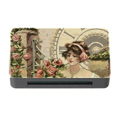 French Vintage Girl Roses Clock Memory Card Reader With Cf by Celenk