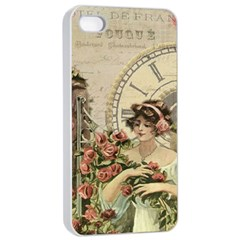 French Vintage Girl Roses Clock Apple Iphone 4/4s Seamless Case (white) by Celenk