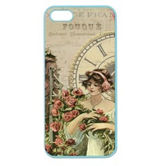 French Vintage Girl Roses Clock Apple Seamless Iphone 5 Case (color) by Celenk