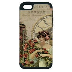 French Vintage Girl Roses Clock Apple Iphone 5 Hardshell Case (pc+silicone) by Celenk