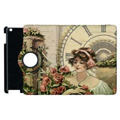 French Vintage Girl Roses Clock Apple Ipad 2 Flip 360 Case by Celenk