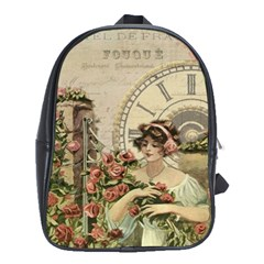 French Vintage Girl Roses Clock School Bag (xl) by Celenk