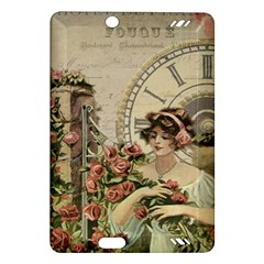 French Vintage Girl Roses Clock Amazon Kindle Fire Hd (2013) Hardshell Case by Celenk