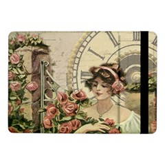 French Vintage Girl Roses Clock Samsung Galaxy Tab Pro 10 1  Flip Case by Celenk