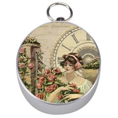 French Vintage Girl Roses Clock Silver Compasses by Celenk
