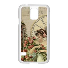 French Vintage Girl Roses Clock Samsung Galaxy S5 Case (white) by Celenk