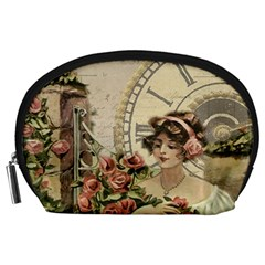 French Vintage Girl Roses Clock Accessory Pouches (large)  by Celenk