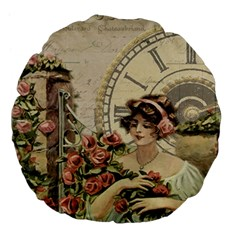 French Vintage Girl Roses Clock Large 18  Premium Flano Round Cushions by Celenk