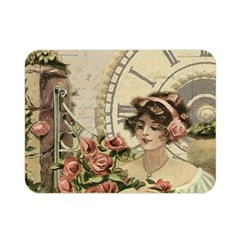 French Vintage Girl Roses Clock Double Sided Flano Blanket (mini)  by Celenk