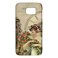 French Vintage Girl Roses Clock Galaxy S6 by Celenk
