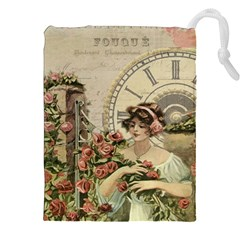 French Vintage Girl Roses Clock Drawstring Pouches (xxl) by Celenk