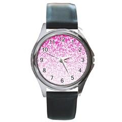 Halftone Dot Background Pattern Round Metal Watch by Celenk