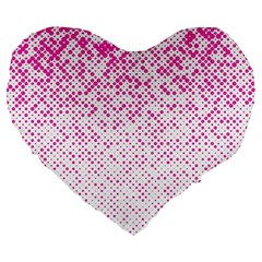 Halftone Dot Background Pattern Large 19  Premium Flano Heart Shape Cushions by Celenk