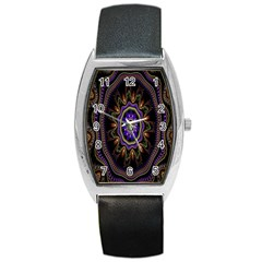 Fractal Vintage Colorful Decorative Barrel Style Metal Watch by Celenk