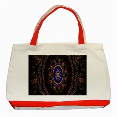 Fractal Vintage Colorful Decorative Classic Tote Bag (red) by Celenk
