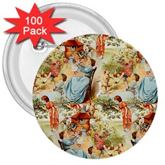 Seamless Vintage Design 3  Buttons (100 Pack)  by Celenk