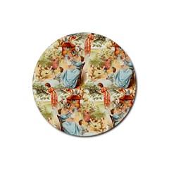 Seamless Vintage Design Rubber Coaster (round)  by Celenk