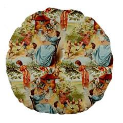 Seamless Vintage Design Large 18  Premium Round Cushions by Celenk