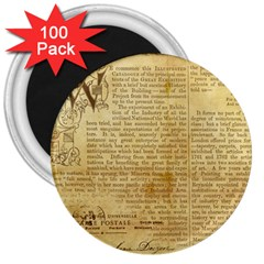 Vintage Background Paper 3  Magnets (100 Pack) by Celenk