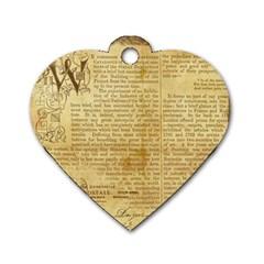 Vintage Background Paper Dog Tag Heart (one Side) by Celenk