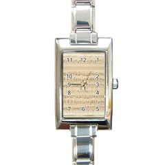 Vintage Beige Music Notes Rectangle Italian Charm Watch by Celenk