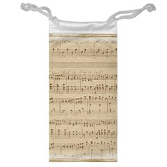 Vintage Beige Music Notes Jewelry Bag by Celenk