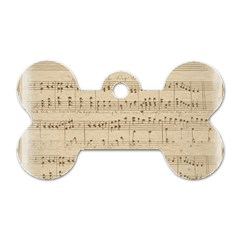 Vintage Beige Music Notes Dog Tag Bone (two Sides) by Celenk