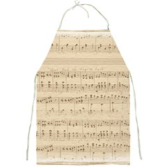 Vintage Beige Music Notes Full Print Aprons by Celenk