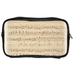 Vintage Beige Music Notes Toiletries Bags 2 Side by Celenk