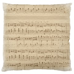 Vintage Beige Music Notes Large Cushion Case (two Sides) by Celenk