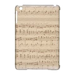 Vintage Beige Music Notes Apple Ipad Mini Hardshell Case (compatible With Smart Cover) by Celenk
