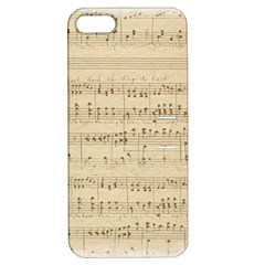 Vintage Beige Music Notes Apple Iphone 5 Hardshell Case With Stand by Celenk