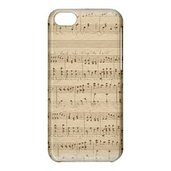 Vintage Beige Music Notes Apple Iphone 5c Hardshell Case by Celenk