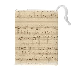 Vintage Beige Music Notes Drawstring Pouches (extra Large) by Celenk