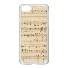 Vintage Beige Music Notes Apple Iphone 8 Seamless Case (white) by Celenk