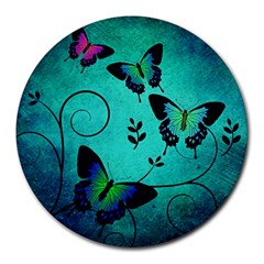 Texture Butterflies Background Round Mousepads by Celenk