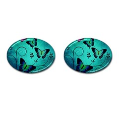 Texture Butterflies Background Cufflinks (oval) by Celenk