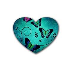 Texture Butterflies Background Rubber Coaster (heart)  by Celenk