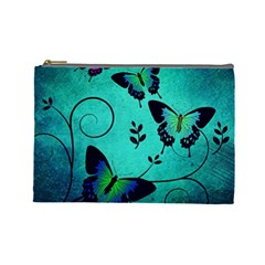 Texture Butterflies Background Cosmetic Bag (large)  by Celenk