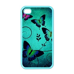 Texture Butterflies Background Apple Iphone 4 Case (color) by Celenk