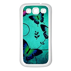Texture Butterflies Background Samsung Galaxy S3 Back Case (white) by Celenk